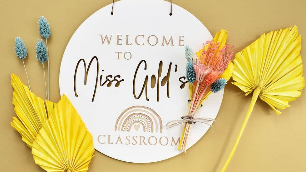 Rainbow Decorations | Personalised Sign | Dried Flowers