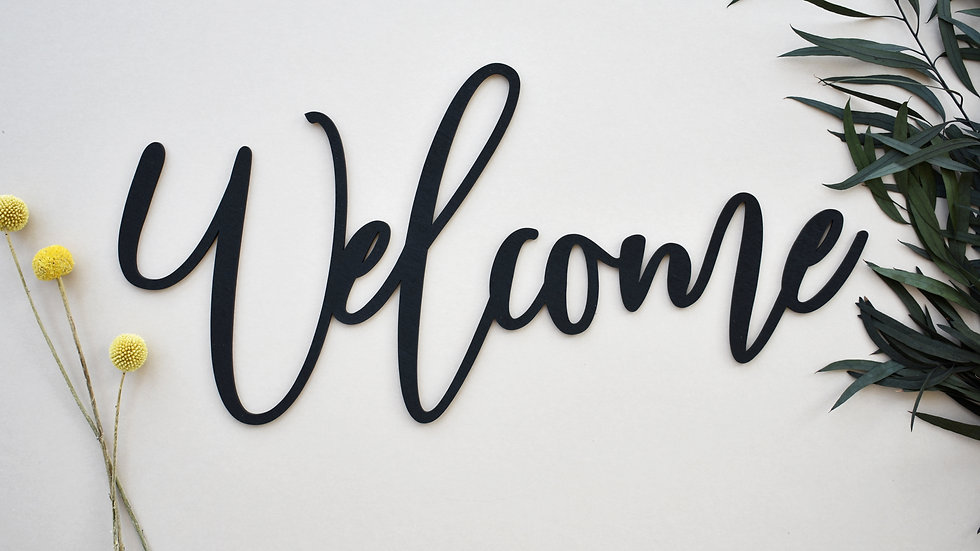 Welcome Calligraphy Wall Sign | Wood cut out names | Wooden name