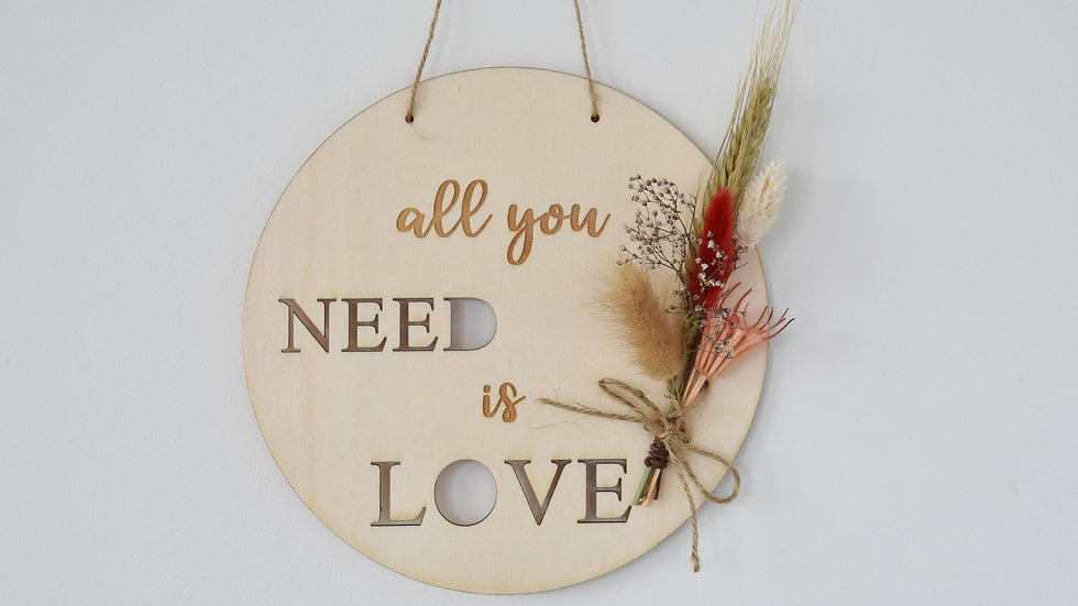 All you need is Love | Wall Hanging | Dried Flowers