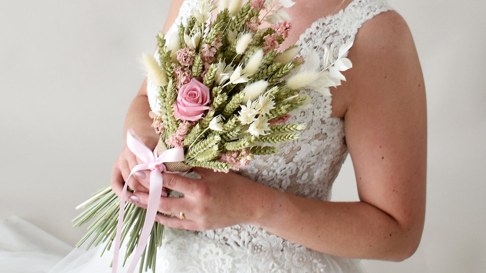 English Rose Dried Flower Bouquet L
