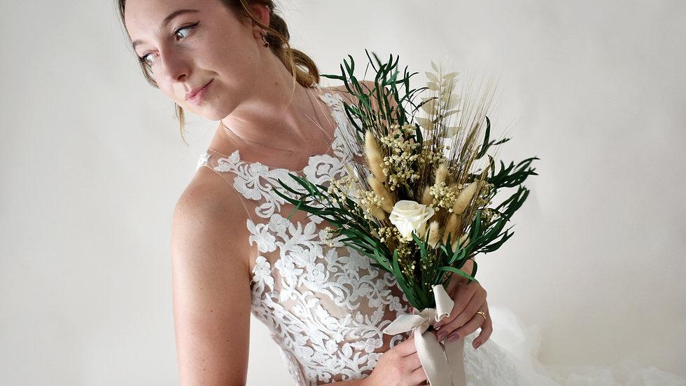 """Pure"" Ivory Dried Flower Bouquet L"