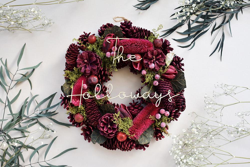 Personalised Christmas Wreath   Christmas Wreath   Dried Flowers