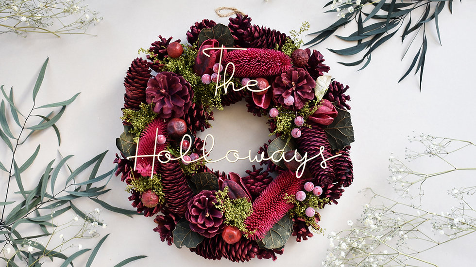 Personalised Christmas Wreath | Christmas Wreath | Dried Flowers
