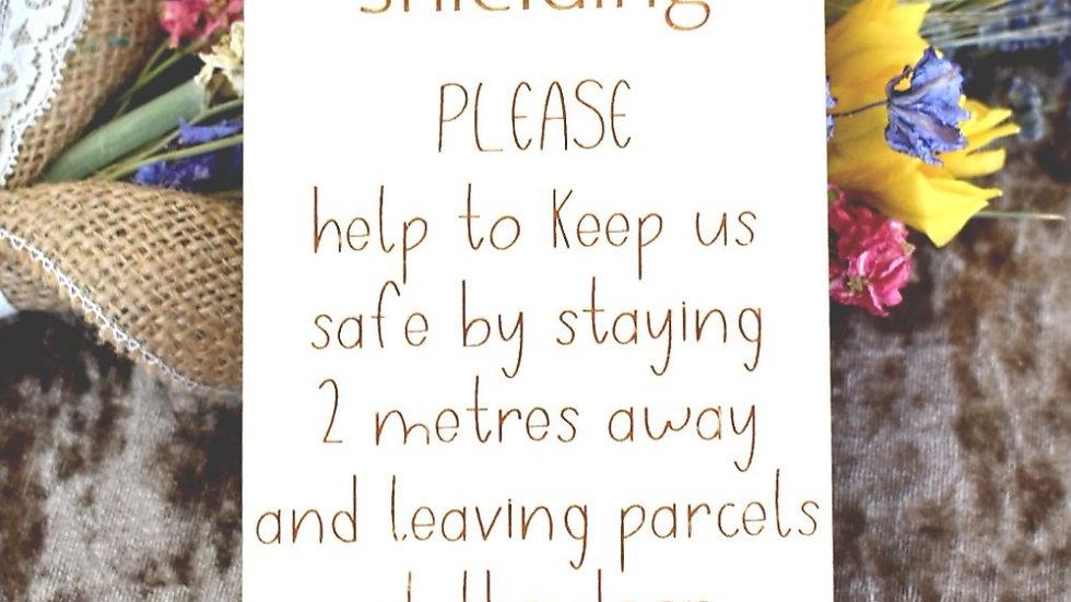 """Wooden """"Shielding"""" Door Sign"""