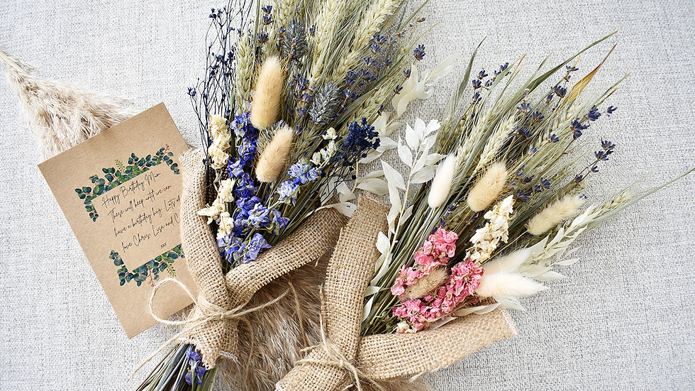 Dried Flowers for Delivery including Personalised Message