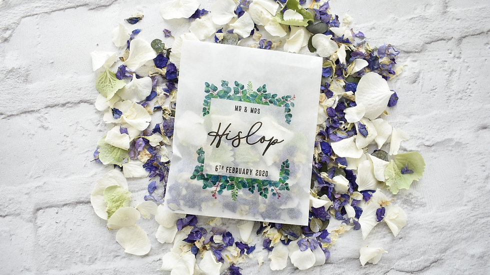 20 Personalised Eucalyptus Frame Packets