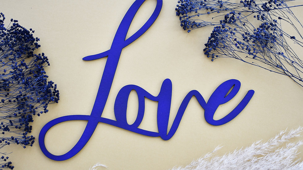 Love Calligraphy Wall Sign | Wood cut out names | Wooden name