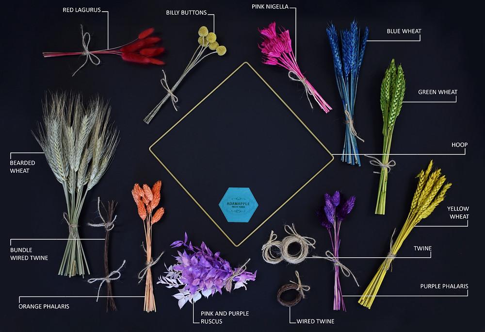 rainbow wreath. wreath making kit. dried flower wreath workshop