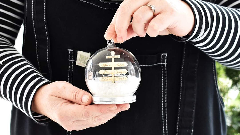 Personalised Family Snow Globe Bauble Decoration