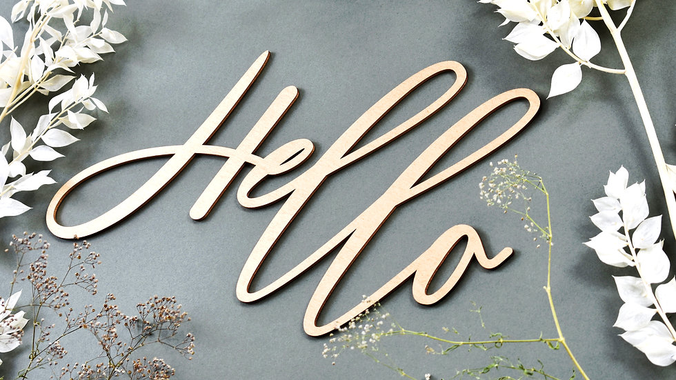 Hello Calligraphy Wall Sign | Wood cut out names | Wooden name