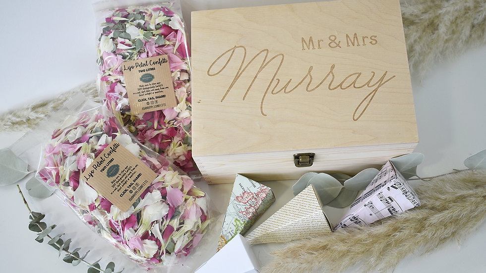 Personalised Wooden Box with Confetti, Cones & Sign 48-96 Guests