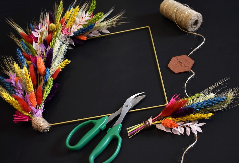 rainbow wreath. wreath making kit. wreath workshop