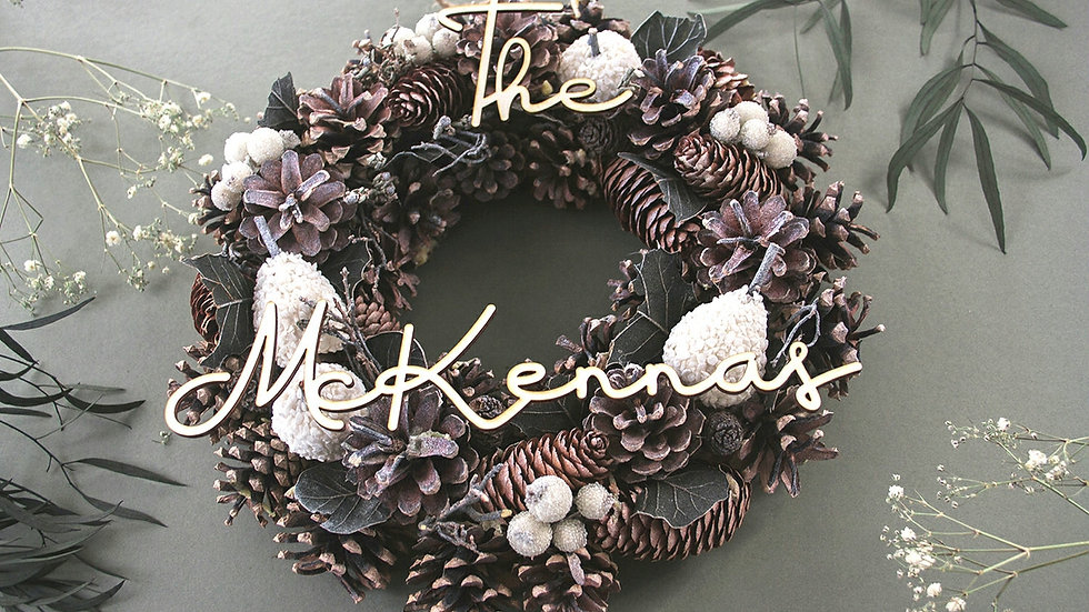 Personalised White Natural Christmas Wreath