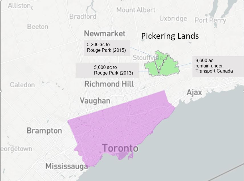 Map of Pickering Lands in relation to Toronto, showing acreage of the Lands
