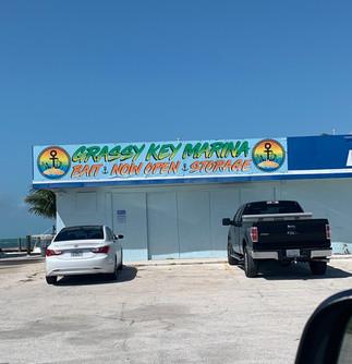 Colorful Grassy Key Marina outdoor banner