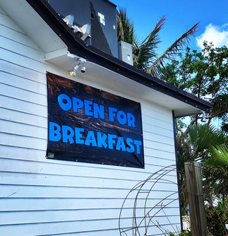 Open for Breakfast Banner at Island Fish Company In Marathon Florida