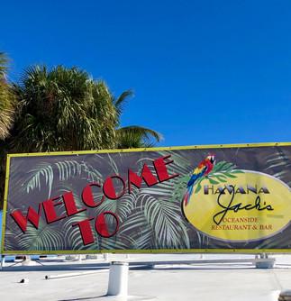 Welcome to Havana Jacks banner in Marathon Florida