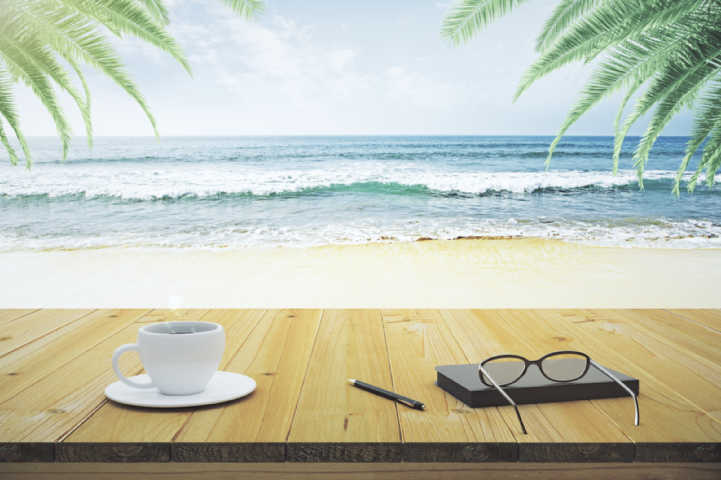 Wooden table with cup of coffee, eyeglas