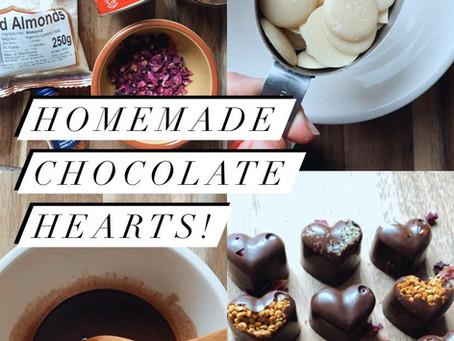 Homemade vegan chocolate hearts