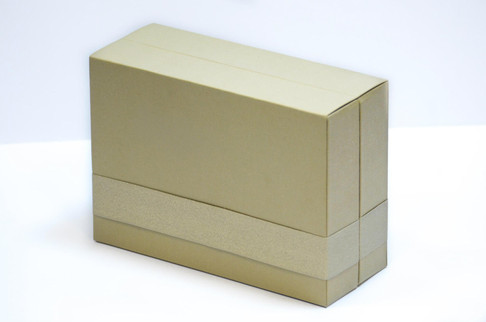 Paper over board perfume box with ribbon