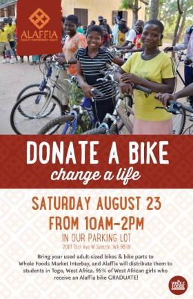Donate a bicycle at the Interbay Whole Foods Market Drive benefiting Alaffia