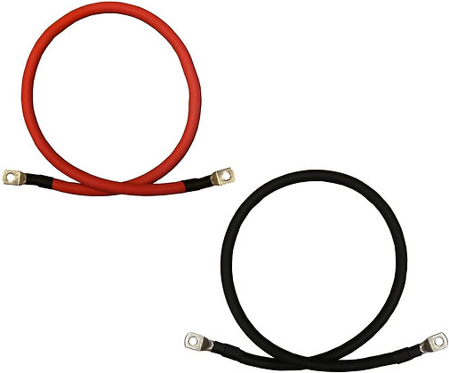 12 In Long Pair of 4 AWG Gauge Red + Black Pure Copper Battery,  3/8 in