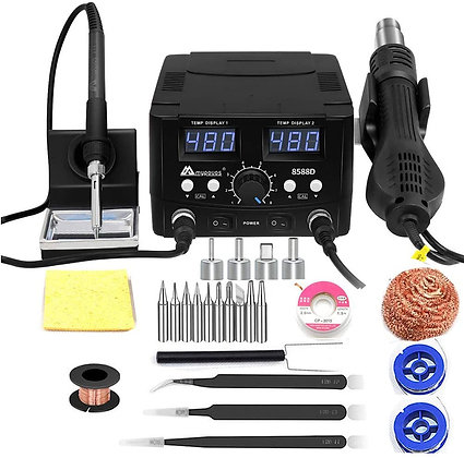 2 IN 1 750W LED Digital Soldering Station With Hot Air Gun