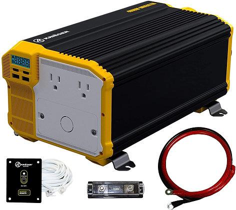 KRIËGER 1100 Watt 12V Power Inverter Dual 110V AC Outlets, Installation Kit In