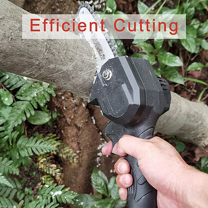 Mini Chainsaw with 2Pcs Chain, 4-Inch Cordless Electric Chainsaw - 2 Batteries