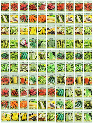 100 Assorted Heirloom Vegetable Seeds 100% Non-GMO