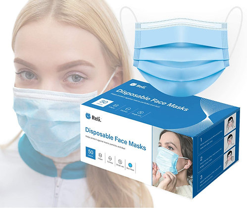Reli. 50 Pack Individually Wrapped Disposable Face Mask, 3 PLY Protection