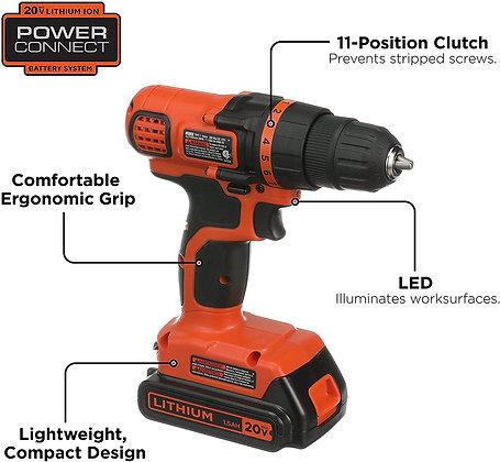 BLACK & DECKER 20V MAX Cordless Drill / Driver, 3/8-Inch