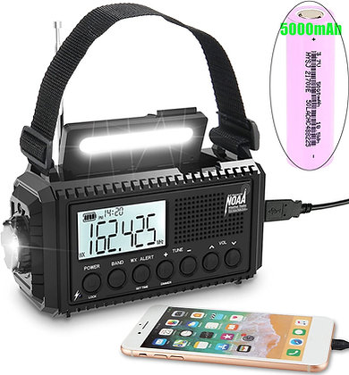 Digital Emergency Weather Band Radio, 5 Way Powered - Hand Crank