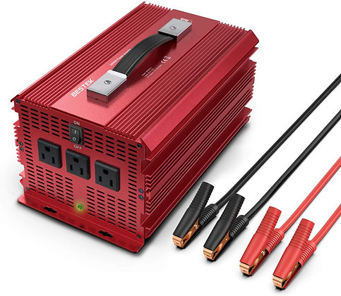 BESTEK 2000W Power Inverter 3 AC Outlets DC 12V to 110VAC