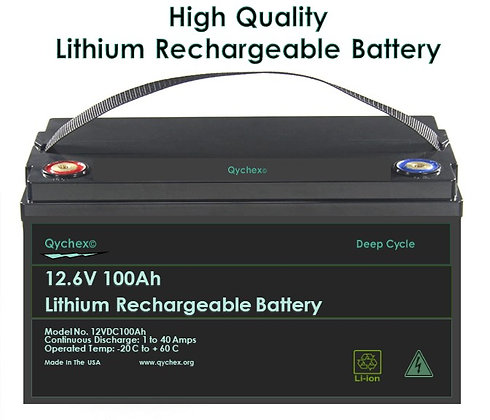 12.6 Volt 100AH High Drain Lithium Ion Battery - Free Battery Charger