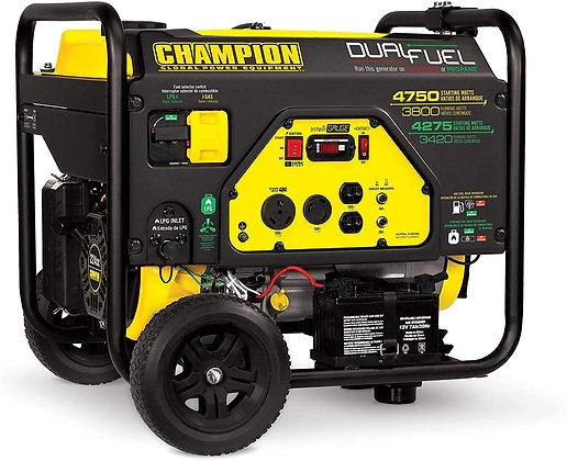 Champion Gas Generator 4750/3800-Watt Dual Fuel RV Ready with Electric Start