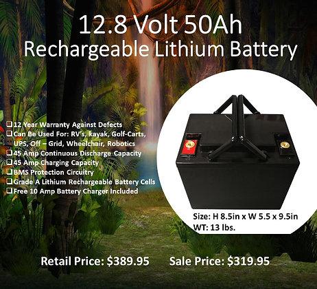 Qychex 12.8 Volt 50 Ah LifeP04 Lithium Battery