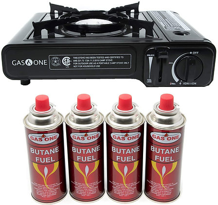 Portable Gas Stove - Carrying Case -  Plus 4 Fuel Cans
