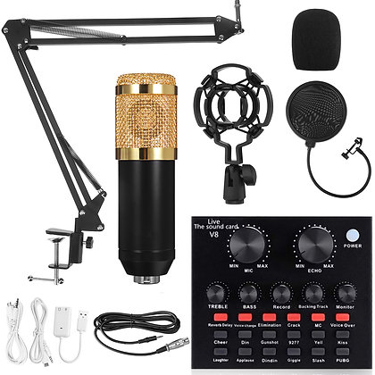 Condenser Microphone & DJ Mixer with Adjustable Mic Suspension Scissor Arm, Sho
