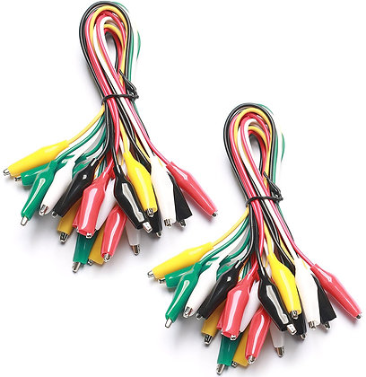 2 Packs of 10 Pieces In Each Pack - 5 Colors Test Lead Set Alligator Clips