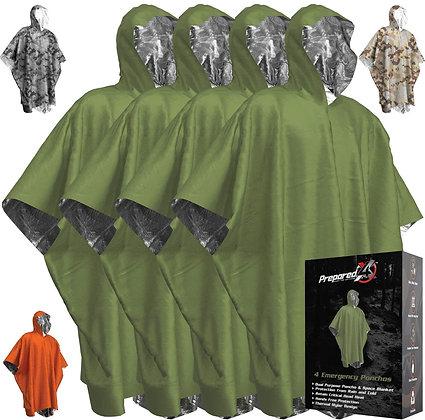 4-Count Emergency Rain Poncho Survival Gear Equipment