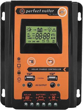 Solar Charge Controller Battery Regulator Dual USB Port 12V/24V 50A