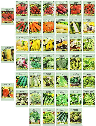 Set of 43 Assorted Vegetable & Herb Seeds - 100% Non-GMO