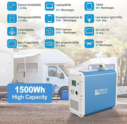 Lithium 1500Wh Portable Rechargeable Solar Generator