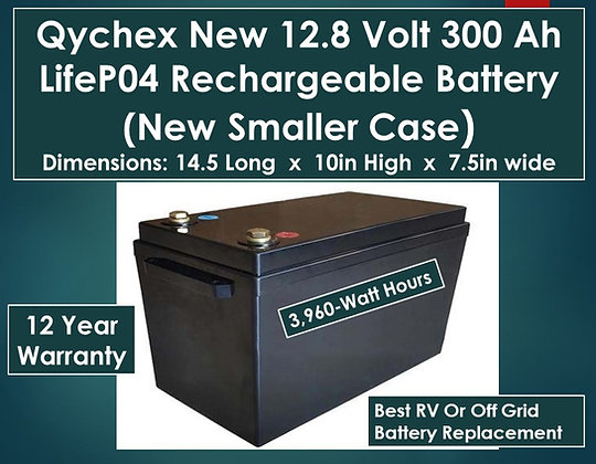 Qychex 12 Volt 300 Ah LifeP04 Lithium Battery