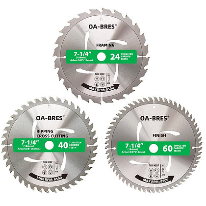 """3Pack Combo 7-1/4 Inch Circular Saw Blades with 5/8"""" Arbor"""
