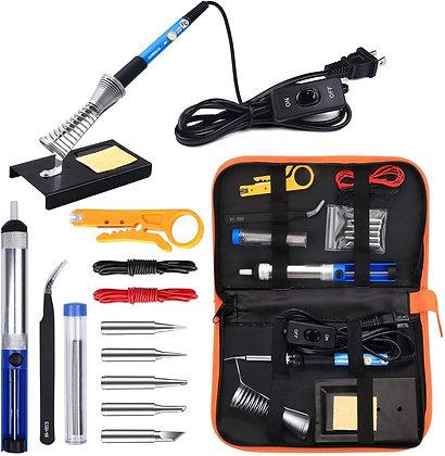 Soldering Iron Kit 60W Adjustable Temperature Welding Tool, 5pcs Soldering Tips