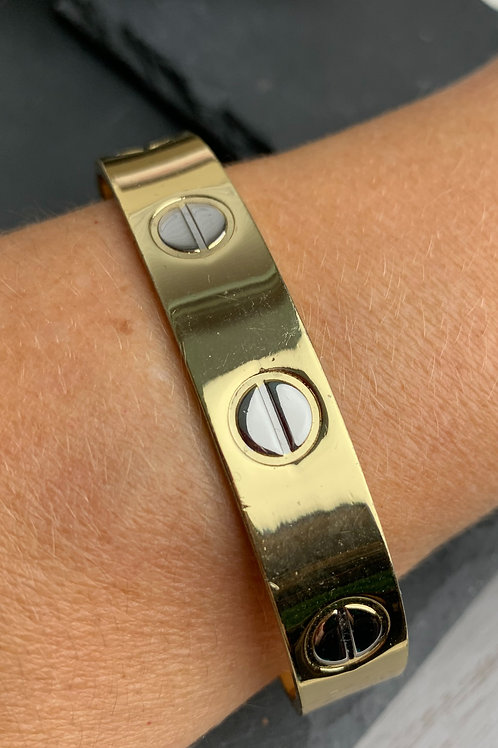SOLID GOLDTONE STAINLESS STEEL MAGNETIC THERAPY BANGLE