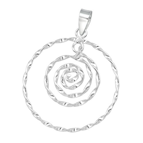 Sterling Silver Modern Spiral Pendant on a 1mm Silver Chain