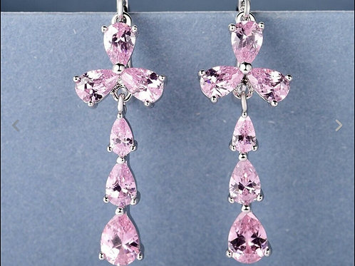 Large 18K White Gold Filled Pink Crystal Cross Earrings